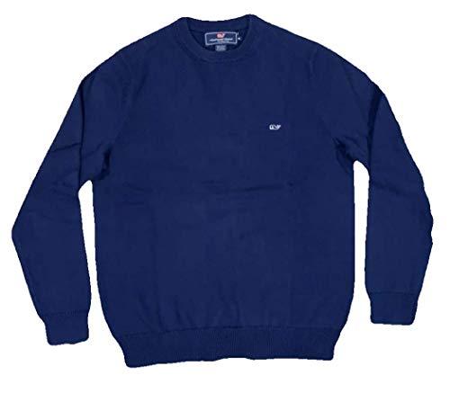 (Vineyard Vines Men's Whale Cotton Cashmere Crewneck Sweater (X-Large, Deep Bay))