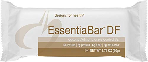 Designs for Health – EssentiaBar Coconut/Almond (Paleobar DF) – Dairy Free, Rice + Pea Protein, No Artificial Sweeteners, 18 Bars