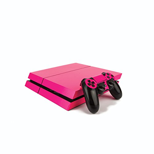 Premium PS4 PlayStation 4 Fluorescent Vinyl Wrap/Skin/Cover for PS4 Console and PS4 Controllers: Bright Pink