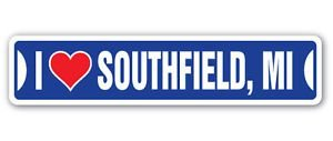 Lancy's Artwork I Love Southfield, Michigan Custom Street Signs - Sticker Graphic - Auto, Wall, Laptop, Cell, Truck Sticker for Windows, Cars, Trucks, Tool Boxes, laptops