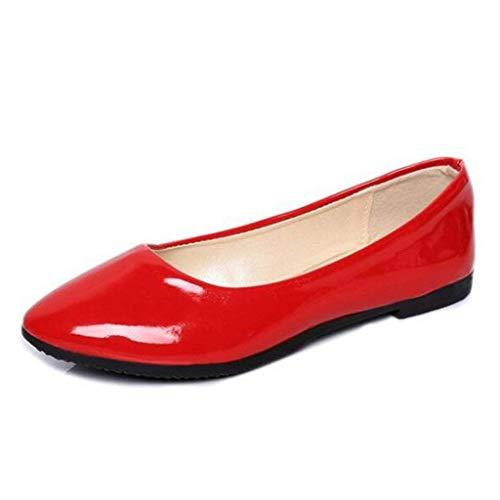 4 Casual Donna Shallow Piatto Red Uk Da Pompe Beige Jincosua O0xfE