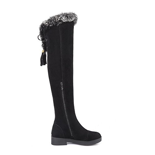Allhqfashion Mujeres Frosted Round Cerrado Dedo Del Pie Sólido High-top Low-heels Botas Negro