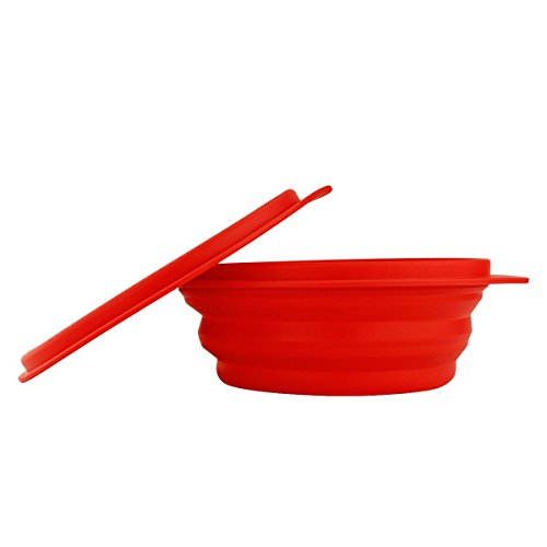 Collapsible Silicone Bowl for Camping - Food-grade & Space-Saving, Red - by Not Just A Gadget (Folding Camping Bowl)