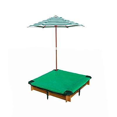Gorilla Playsets 02-3019 Interlocking Sandbox with Cover and Umbrella, Wood, Square, 45.5