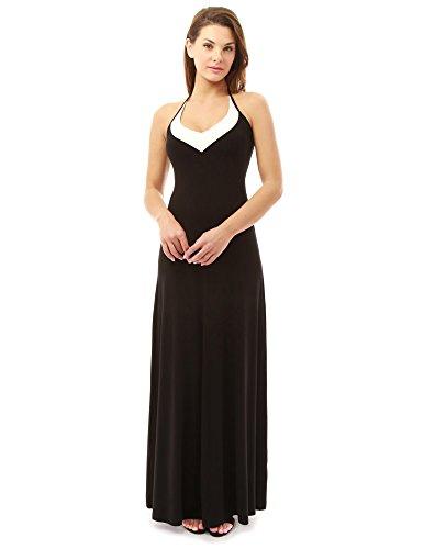 Black And Ivory Halter Dresses (PattyBoutik Women's Block Color Halter Maxi Dress (Black and Ivory L))