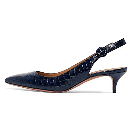 (YDN Womens Kitten Low Heels Office Pumps Pointed Toe Leopard Print Comfy Shoes with Slingback Navy-Crocodile Printing 11 M US)