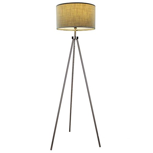 Modern Tripod Floor Lamp with 3-Way Bulb Socket, Contemporary Style Metal Tall Standing Lamp for Office Living Room Bedroom Kitchen Reading Café Ambient Light, Brushed Nickel by DEEPLITE