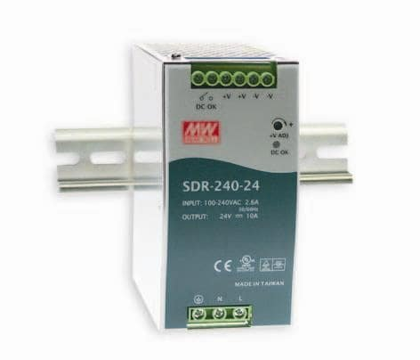 MEAN WELL SDR-240-24 SDR-240 Series 240 W Single Output 24 V AC/DC Industrial DIN Rail w/PFC Function - 1 item(s) by MEAN WELL