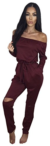 ALAIX Women's off-Shoulder Bodycon Knee Hole Pants Party Club Jumpsuits Rompers-Wine Red-S (Sexiest Plus Size Outfits)