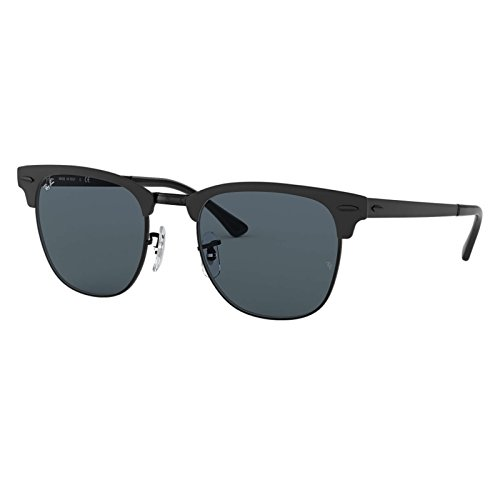 Ray-Ban Metal Unisex Square Sunglasses, Shiny Black Top Matte, 50 - Ray Matte Clubmaster Black Ban