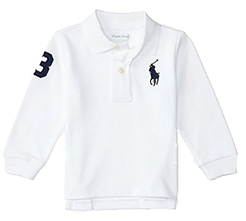 Polo Ralph Lauren Baby Boy's Big Pony Long Sleeve Mesh T-shirt, White (24 Months)