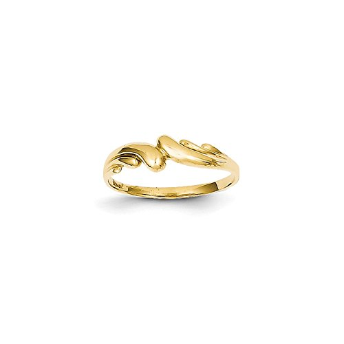 Brilliant Bijou Genuine 14k Yellow Gold Polished Swirl Dome Ring Size 6 (Ring Polished Dome Swirl)