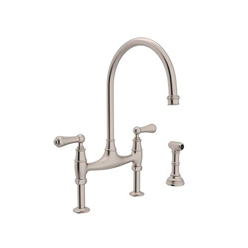(Rohl U.4719L-STN-2 Perrin and Rowe Deck Mount Bridge Kitchen Faucet with Sidespray with High C Spout and Metal ALSace Levers, Satin Nickel)