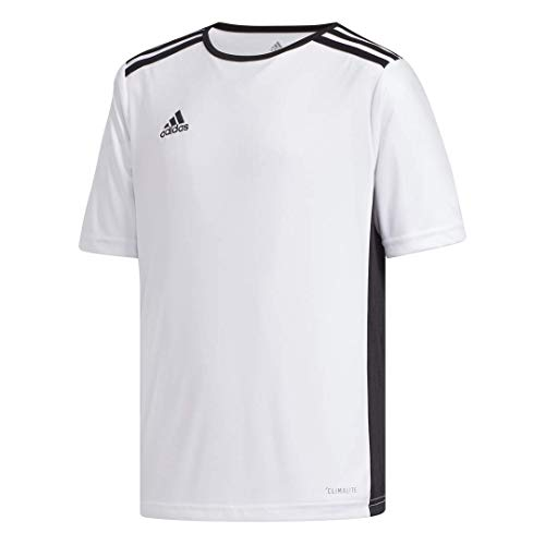 (adidas Youth Entrada 18 Jersey, White/Black, X-Large)