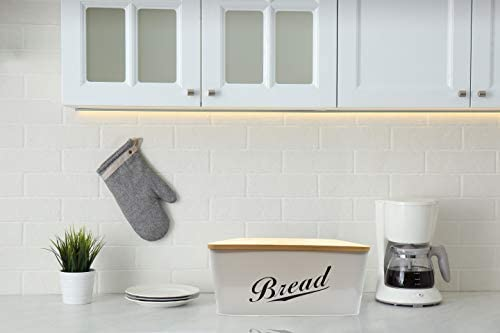 31bkcfbmv8L. AC RoyalHouse Modern Metal Bread Box with Bamboo Lid, Bread Storage, Bread Container for Kitchen Counter, Kitchen Decor Organizer, Vintage Kitchen    Perfect Size Bread Box Saves your kitchen counter space in your kitchen with the Claimed Corner Metal Bread Box. Free up limited cupboard space and keep your bread fresh, longer and looking great with this perfectly sized breadbox.