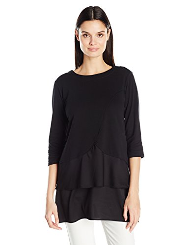 Joan Vass Women's Cotton Interlock Tunic With Woven Hem, Black, L by Joan Vass (Image #1)