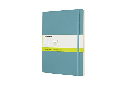 Moleskine Classic Notebook, Extra Large, Plain, Blue Reef, Soft Cover (7.5 x 9.75)