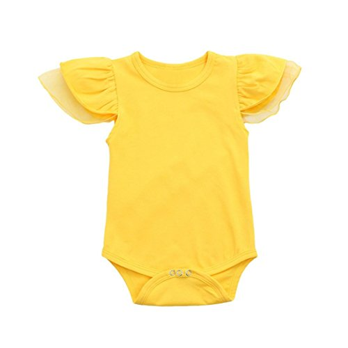 Winsummer Funny Be Careful What Letter Infant Newborn Baby Boy Short Sleeve Bodysuit Romper Outfit Summer Clothes (Yellow #1, 12 Months) ()
