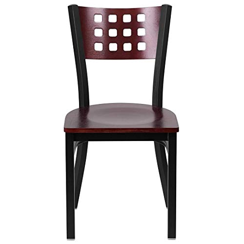 Modern Style Metal Dining Chairs Bar Restaurant Commercial Seats Mahogany Wood Cutout Back Design Black Powder Coated Frame Home Office Furniture - (1) Mahogany Wood Seat #2206 by KLS14 (Image #3)
