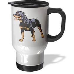 Funny Travel Mug with Handle Cute And Cuddly Canine Rottweiler Unique Travel Mugs for Coffee Tea 14oz Mug Gifts for Women Men ()