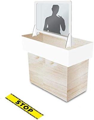 KMINA - Mampara Protección Mostrador, Mampara Mostrador con pantalla de plástico fino transparente (no es metacrilato) y marco de aluminio DIBOND de Calidad, Fabricado en España (70 cm x 62cm): Amazon.es: Salud