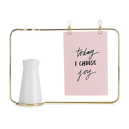SS&Y Prisma 5x7 Picture Frame - Geometric Wire Photo Frame for Desktop Matte Brass - Photo Frame with a Beautiful Flower vase.