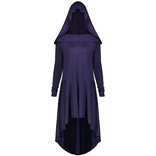 Rambling Womens Hooded Robe Lace up Vintage Pullover High Low Long Hoodie Dress Plus Size