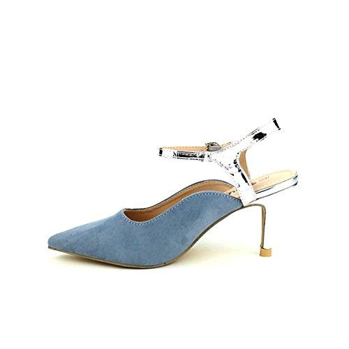 Femme Cendriyon Velours Escarpin Royal Pointu Bleu Chaussures YZYOrwq