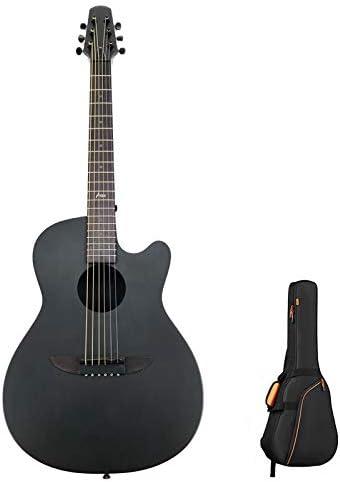 """カーボンファイバーアコースティックギターブラック38""""アーチバックフリー10mm厚ギグバッグDHLでお届け"""