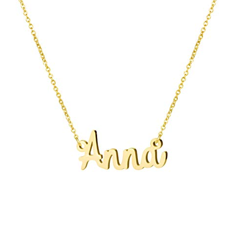 - Awegift Jewelry for Women Name Necklace Big Initial Gold Plated for Her Anna
