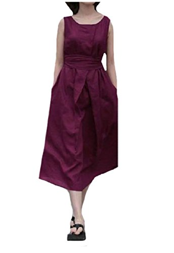 Sleeveless Cotton Dress Red Colored Blend Coolred Solid Wine Belted Women Linen BgxBS1O
