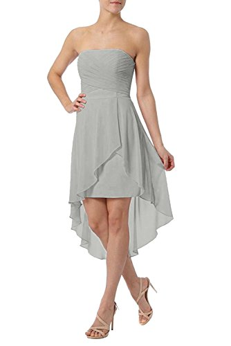 lo Chiffon Festlich Kurz Partykleider Silber Elegant Promkleider Rosa Damen Cocktailkleider Charmant Hi qBwpt