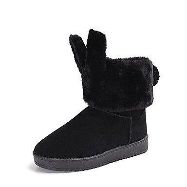 Heart&M Mujer Zapatos PU microfibra sintético Invierno Confort Botas de nieve Forro de pelusa Botas Tacón Plano Dedo redondo Para Casual Negro black
