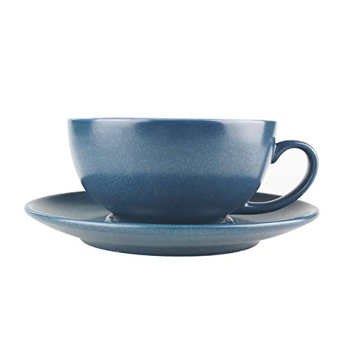 - J-FAMILY Professional Porcelain Cappuccino Cup and Saucer set for Specialty Coffee Drink Like Cappuccino and Latte,Semi Matte Pearl Blue Latte Cup,8 oz