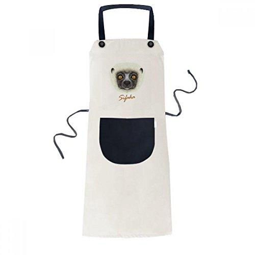 cold master DIY lab White Fluffy Sifaka Monkey Animal Cooking Kitchen Beige Adjustable Bib Apron Pocket Women Men Chef Gift