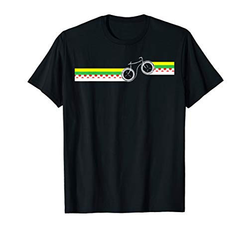 Tour France Cycling Jersey Colors Stripe with Bike T-Shirt (Tour De France Polka Dot Jersey For Sale)