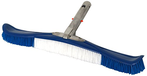 Pooline 20inch; Pool Flexible Brush (Curved) with 5inch; Aluminum Back and Handle/EZ Clip - Dark Blue Brush Body - Blue and White (Michel Clip)