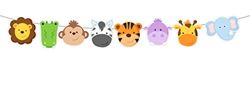 Crafty Cue 4.25'' TALL Jungle Animal FACES Garland, Jungle Animal Banner, Jungle Animal Party Decorations, Jungle Animal Nursery Decorations, Jungle Animal Photo Prop by Crafty Cue