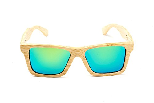 Swell Vision Classic Natural Bamboo Sunglasses with Green Polarized - Glasses Swell