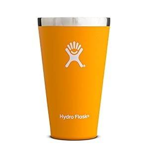 Hydro Flask 16 oz Stackable Double Wall Vacuum Insulated Stainless Steel True Pint Camping Cup, Mango (No Lid)