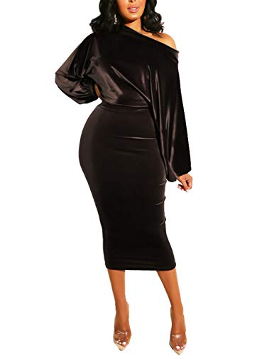 Salimdy Womens One Off Shoulder Midi Dress Long Sleeve Velvet Sexy Bodycon Party Pencil Dress Coffee ()