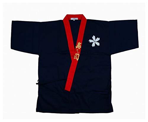 POJ Japanese Sushi Chef Coat Uniforms [ M / L / XL size Navy blue for unisex ] (L, Navy blue)