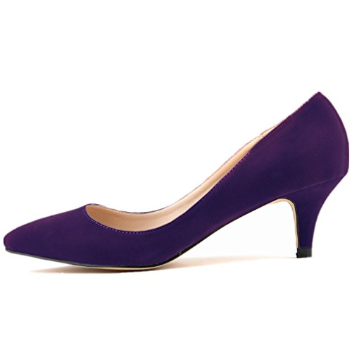 SAMSAY Women's Slender Kitten Heels Pointed Toe Pumps Court - Pump Women Purple