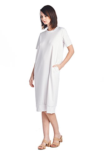 White 1 Mid Long Jersey Various Women's Comfortable Days Styles Dresses 82 BaxvPP