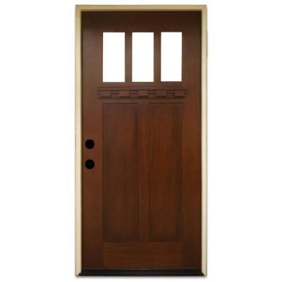 Entry Mahogany (Shaker 3 Lite Stained Mahogany Wood Entry Door)