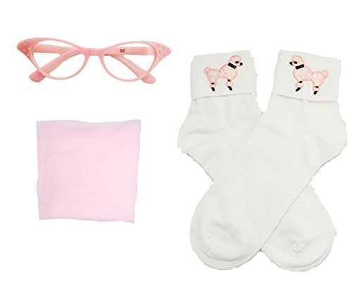 [50s Costume Accessory Set Chiffon Scarf, Cat Eye Glasses and Bobby Socks for Women, Light Pink] (Fifties Outfit)