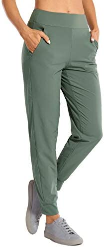 CRZ YOGA Women's Double Layer Jogger Sweatpants with Zipper Pockets Warm Stretchy Comfy Lounge Pants Elastic Waist 1