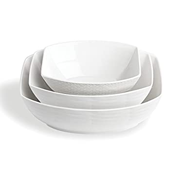 Lenox 3-Piece Entertain 365 Mixed Sculpture Bowl Set, White