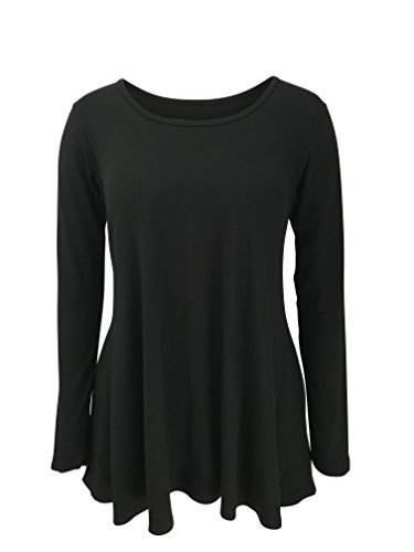 (Green 3 Solid Long Sleeve Tunic Top (Black) - 100% Organic Cotton Womens T Shirt, Made In The USA (X-Large))