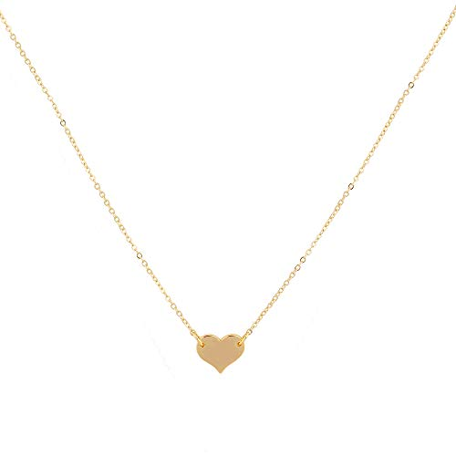 Mevecco Gold Tiny Heart Necklaces,14K Gold Plated Handmade Dainty Cute Love Heart Charm Chain Minimalist Choker Necklace for Women